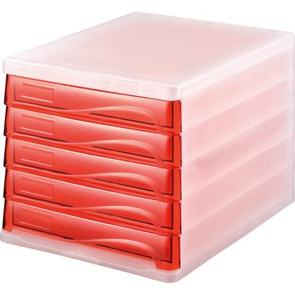 helit Schubladenbox, 5 Schübe, weiß-transluzent/rot-trans-