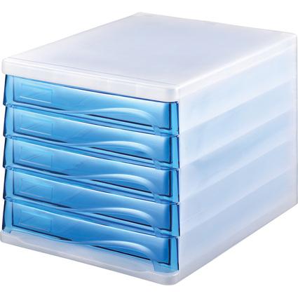 helit Schubladenbox, 5 Schübe, weiß-transluzent/blau-trans-