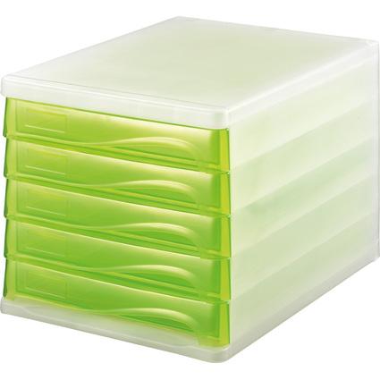 helit Schubladenbox, 5 Schübe, weiß-transluzent/grün-trans-