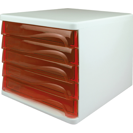 helit Schubladenbox, 5 Schübe, weiß/rot-transparent