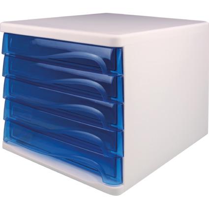 helit Schubladenbox, 5 Schübe, weiß/blau-transparent