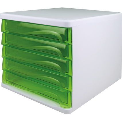 helit Schubladenbox, 5 Schübe, weiß/grün-transparent