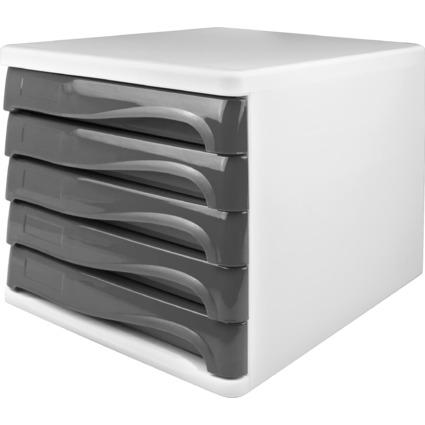 helit Schubladenbox, 5 Schübe, weiß / mittelgrau