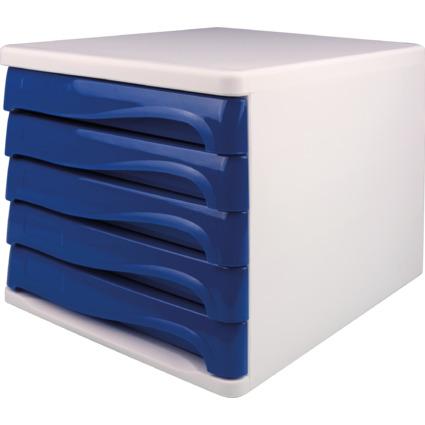 helit Schubladenbox, 5 Schübe, weiß/blau