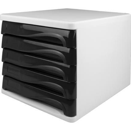 helit Schubladenbox, 5 Schübe, weiß/schwarz