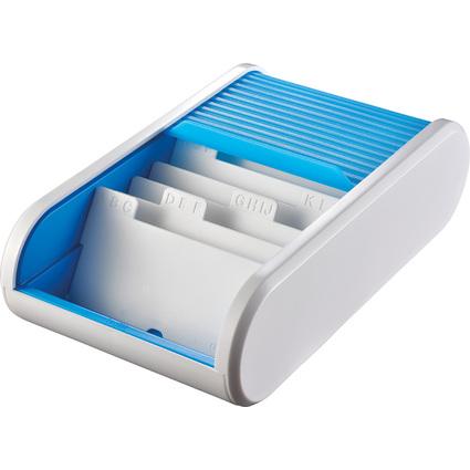 helit Colours Visitenkartenbox, weiß / hellblau