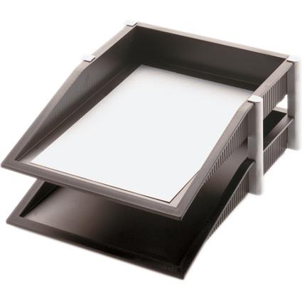 helit Briefablagen-Set Silver, 2er Set, schwarz/silber