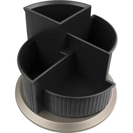helit Multiköcher Silver, 4 Fächer, drehbar, schwarz/silber