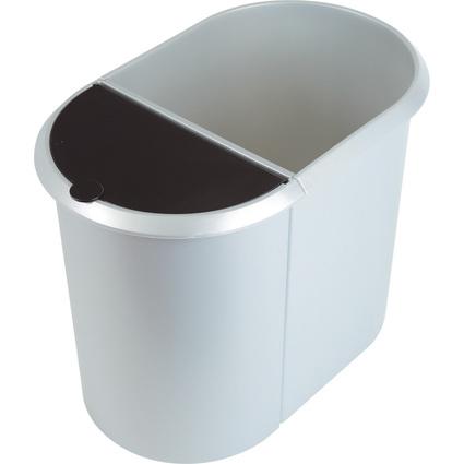 helit Papierkorb Duo-System Silver oval, PE, silber/schwarz