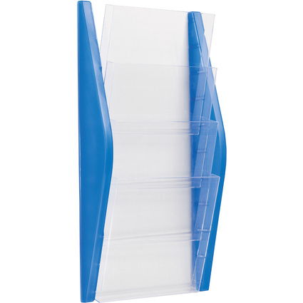 helit Wand-Prospekthalter, DIN A4 hoch, 4 Fächer, blau