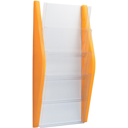 helit Wand-Prospekthalter, DIN A4 hoch, 4 Fächer, orange