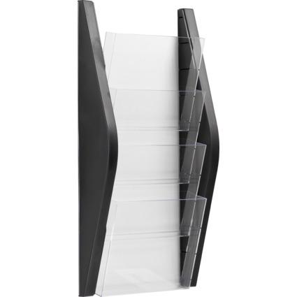 helit Wand-Prospekthalter, DIN A4 hoch, 4 Fächer, schwarz