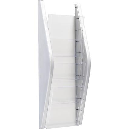 helit Wand-Prospekthalter, DIN A5 hoch, 4 Fächer, silber