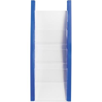 helit Wand-Prospekthalter, DIN A5 hoch, 4 Fächer, blau