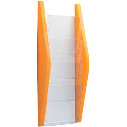 helit Wand-Prospekthalter, DIN A5 hoch, 4 Fächer, orange