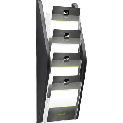 helit Wand-Prospekthalter, DIN A5 hoch, 4 Fächer, schwarz