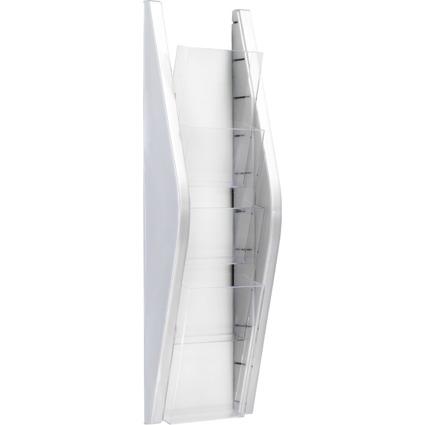 helit Wand-Prospekthalter, DIN lang, 4 Fächer, silber