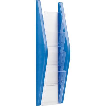 helit Wand-Prospekthalter, DIN lang, 4 Fächer, blau