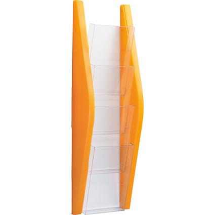helit Wand-Prospekthalter, 1/3 A4 hoch, 4 Fächer, orange