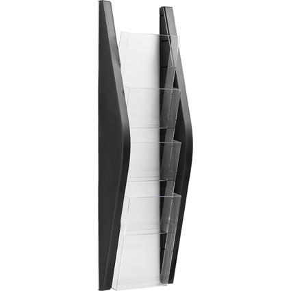 helit Wand-Prospekthalter, DIN lang, 4 Fächer, schwarz