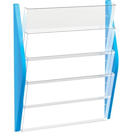 helit Wand-Prospekthalter, DIN A3 quer, 4 Fächer, blau