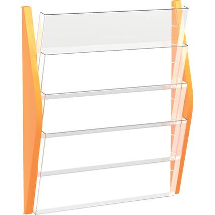 helit Wand-Prospekthalter, DIN A3 quer, 4 Fächer, orange