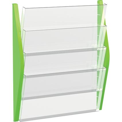 helit Wand-Prospekthalter, DIN A3 quer, 4 Fächer, grün