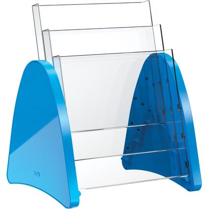 helit 3er Tisch-Prospekthalter, 3 x DIN A4 hoch, blau