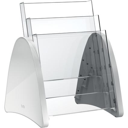 helit 3er Tisch-Prospekthalter, 3 x DIN A4 hoch, lichtgrau