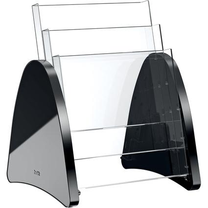 helit 3er Tisch-Prospekthalter, 3 x DIN A4 hoch, schwarz