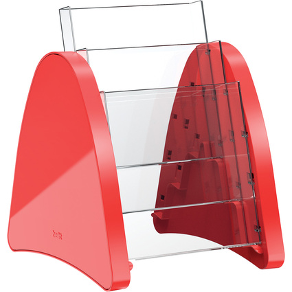 helit 3er Tisch-Prospekthalter, 3 x DIN A5 hoch, rot