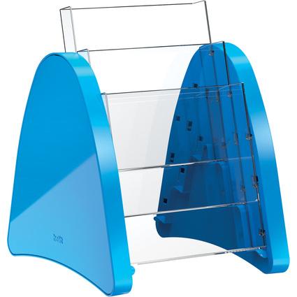 helit 3er Tisch-Prospekthalter, 3 x DIN A5 hoch, blau