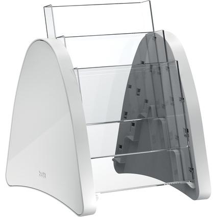 helit 3er Tisch-Prospekthalter, 3 x DIN A5 hoch, lichtgrau
