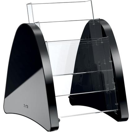 helit 3er Tisch-Prospekthalter, 3 x DIN A5 hoch, schwarz