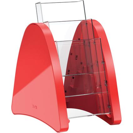 helit 3er Tisch-Prospekthalter, 3 x DIN lang, rot