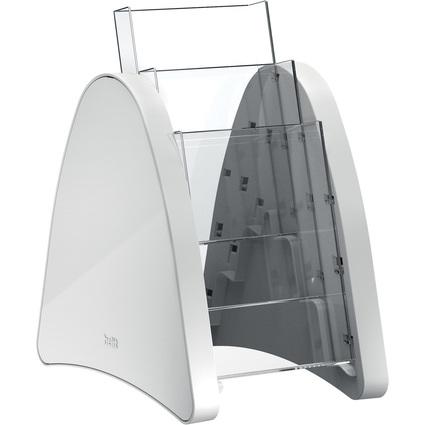 helit 3er Tisch-Prospekthalter, 3 x 1/3 DIN A4, lichtgrau