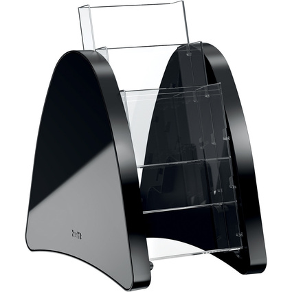 helit 3er Tisch-Prospekthalter, 3 x DIN lang, schwarz