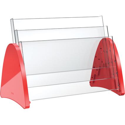 helit 3er Tisch-Prospekthalter, 3 x DIN A3 quer, rot