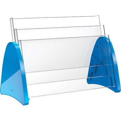 helit 3er Tisch-Prospekthalter, 3 x DIN A3 quer, blau