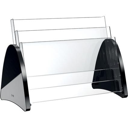 helit 3er Tisch-Prospekthalter, 3 x DIN A3 quer, schwarz