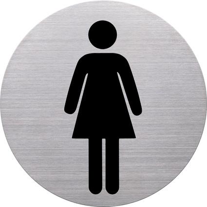 """helit Piktogramm """"WC-Damen"""", Durchmesser: 115 mm, silber"""