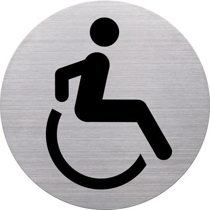 """helit Piktogramm """"WC Behinderte"""", Durchmesser: 115 m, silber"""