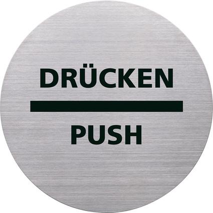 """helit Piktogramm """"DRÜCKEN/PUSH"""", Durchmesser: 115 m, silber"""