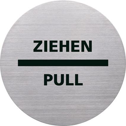 """helit Piktogramm """"ZIEHEN/PULL"""", Durchmesser: 115 m, silber"""