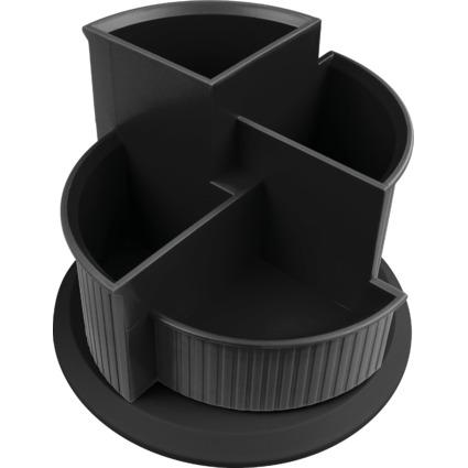 helit Multiköcher Linear, 4 Fächer, drehbar, schwarz