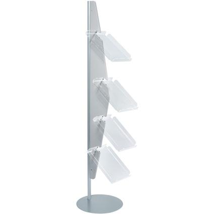 "helit Bogen-Prospekt-Bodenständer ""Segel"", 4 Fächer, grau"