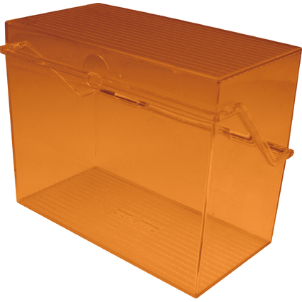 helit Klein-Karteikasten Transluzent, A6 quer, orange