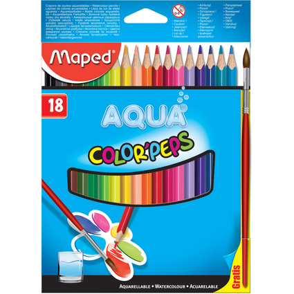 "Maped Aquarellstift COLOR""PEPS AQUA, 18er Kartonetui"