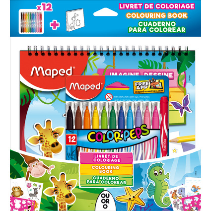 Maped Bundle Fasermaler COLOR'PEPS Jungle + Malbuch