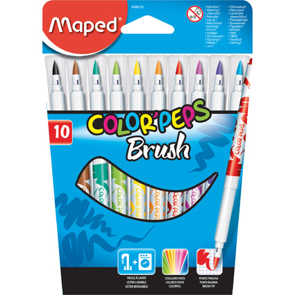 Maped Fasermaler COLOR'PEPS Brush, 10er Kartonetui